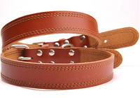 6 levels adjustment Genuine leather Dog Collar Head layer Cowhide pet Collars