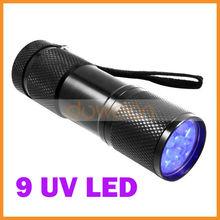 Mini Ultra Violet 9 UV LED Flashlight Torch for Money Checking