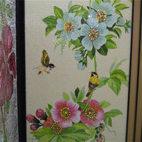LJ JY-JH-DLH02-A Living Room Wall Decor Chinese Style Handmade Tile Glass Painting of Flowers Mosaic Art Picture