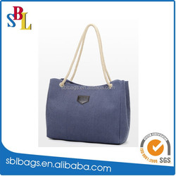 2016 cotton rope handle promotion beach tote bag, korean beach tote bag, pure color tote bag
