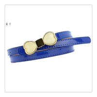 Freeshipping moq.50pcs hot sale opal design with alloy metal bulck and pu leather material women's multi-color PU belt