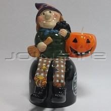Halloween decoration witch and pumpkin lantern candles holder