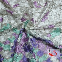lilac ladies suits lace design 100% silk crepe fabrics guipure lace