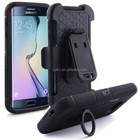 Black armor holster defender protective hybrid case for Samsung Galaxy S6 with rotating kickstand