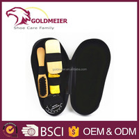 Black shoes cleaning kit foot shaped shoe shine kit from China manufacturer