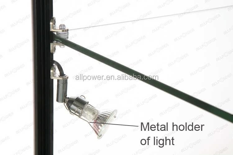 Te negro aluminio display gabinete vitrina cristal iluminado ...