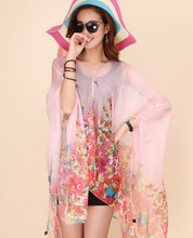 summer new design floral print wraps shawl stole beachwear sun-protective scarf