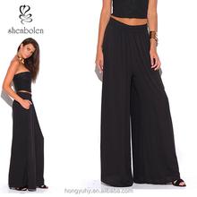 Caliente venta nueva moda negro pierna ancha de la gasa embolsado Palazzo mujeres visten pantalones