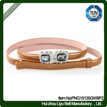 Wholesale Rhinestone Women Genuine Leather Belts Brown Thin Ladies for Female Dress Skinny With Crystal Buckle 2015 Fashion