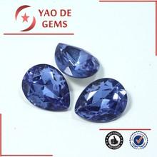 Pulido tanzanite color triángulo forma de corte electrochapa inferior del grano del diamante cristal gemas joyería