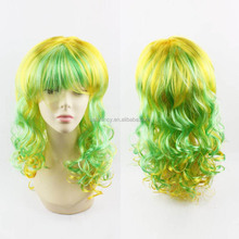 New fashion Woman Long Blonde Green Black Wavy synthetic lace front wig hair Wig QPWG-2083