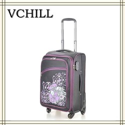 2015 Latest design with beautiful flowers women soft luggage
