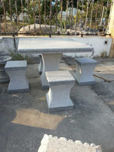 Square Grey Granite Stone Carving Garden & Park Table and Chairs
