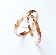 Couple Bangle Stainless Steel Rose Gold Geometric Vintage Design Bracelet For Best Friend Men Women Bangle Wedding Ideal Gift