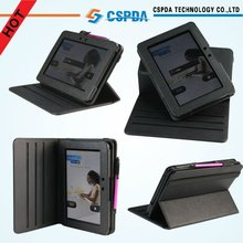 """PU Leather Rotating Standing Case for Kindle Fire HD 7"""" with stylus holder"""