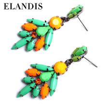 Coffee color crystal drop earrings chandelier dangle earrings wholesale resin stud earrings