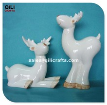 red nose ceramic white reindeer figurine statue for christmas gifts