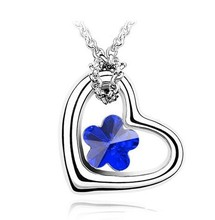 Fashion Jewelry new product five leaves flower open heart elegant necklace