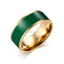 316L Stainless Steel 18 Karat Gold Plated Green Enamel Ring for Men Women