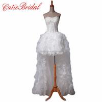 Real Photos Bridal Dresses Short Front Long Back Bridal Gown Hi-lo Wedding dresses