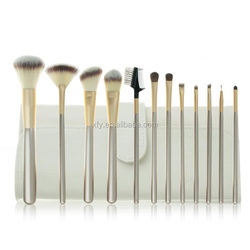 2015 New 12 Pcs professional synthetic hair Makeup cosmetic brush set milk white leather case with straps