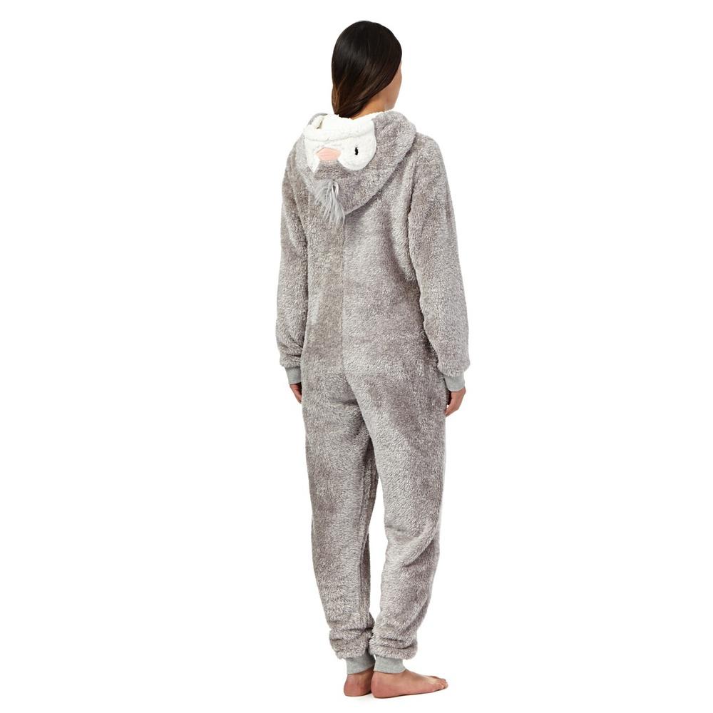 Nieuwe lounge en slaap grijze fleece pyjama pinguïn onesie/dier ...