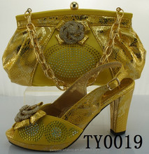 TY0019 High quality ladies matching shoes and bags set/Yellow sexy high heel shoes 12 cm high heel shoes and matching bags