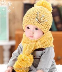Acrylic Crown Cute Baby Boys Girls Winter Warmer Hats Scarf Beanie Caps Fluffy Ball