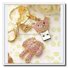 Teddy bear usb flash drive female, necklace usb flash drive 2G