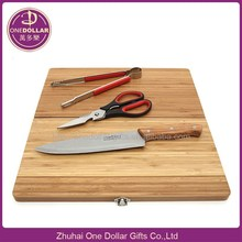 New Product travel BBQ tool Set with Bamboo Cutting Board - knife, Scissor, tongs