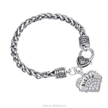 Best Friend Gift Silver Wheat Chain Bracelet With Letter SISTER Heart Charm Paved Clear Pink Blue Crystal
