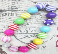 kids gift cyrstal pendant 15 beads soft color chunky bubblegum necklace