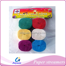 Party crepe paper streamer,hanging paper streamers for Chile markets