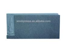 Straight Upright Flower Carving Dark Gray Granite Headstone