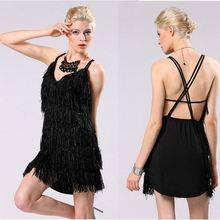 Fashion extreme sexy women v-neck backless mini black fringe party black sexy open back dress yc000122
