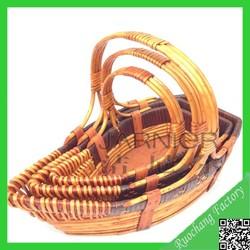 Fashionable custom size wicker basket wholesale/ fruit basket decoration