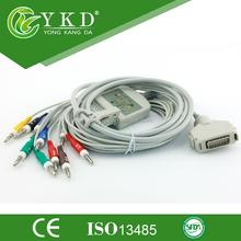 12 lead ecg/ekg cable for Fukuda Denshi,Banana 4.0,IEC,chinese medical supplier