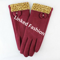 Stocks Sexy Lady Wine smart finger touch gloves with Bows fashion style for fall winter guante luva Handschuh