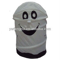 Folding up round cartoon animal laundry storage basket pop up laundry hamper collapsible travel laundry bag for household