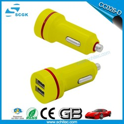 Fashionable new model dual usb travel car charger mobile phone accessories factory wholesale