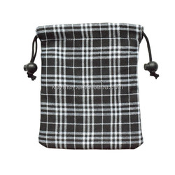 tartan pouches pull cotton string bag promotion collection bag stock bag