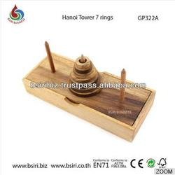 High Quality wooden puzzle Hanoi Tower 7 rings