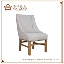 French fabric upholstered high back wood dining chair