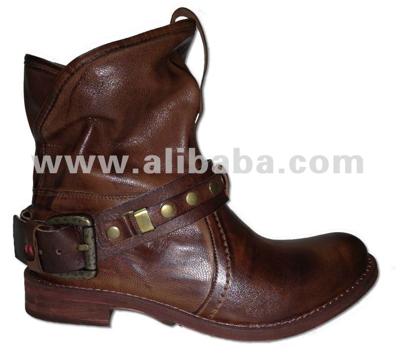 ankle boots low heels top quality leather genuine leather