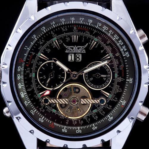 Главным Победителем Tourbillon Дизайнер мужская Автоматическая Механические Наручные Часы Ремень Из Натуральной Кожи Качество Синего Стекла День & Дата Циферблат
