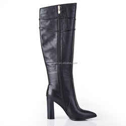 winter fashion Boots black leather pointed toe covered platform red heels chunky 130 mm women over knee boots