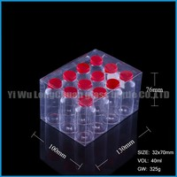 round pill glass bottle with red plastic cap for wholesale