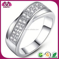 2015 Fashion Cooper Pave Crystal Ring, silver couple rings