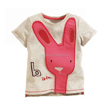 Factory price short sleeve 100%cotton girl's t-shirt rabbit
