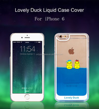Rubber Yellow Liquid Case Swimming Duck Mobile Phone Case for iPhone 6 case